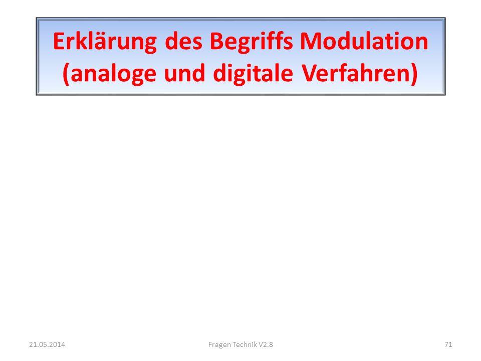 Erklärung des Begriffs Modulation (analoge und digitale Verfahren) 21.05.201471Fragen Technik V2.8