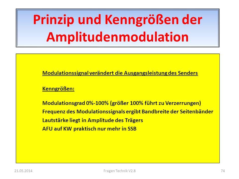 Prinzip und Kenngrößen der Amplitudenmodulation Modulationssignal verändert die Ausgangsleistung des Senders Kenngrößen: Modulationsgrad 0%-100% (größer 100% führt zu Verzerrungen) Frequenz des Modulationssignals ergibt Bandbreite der Seitenbänder Lautstärke liegt in Amplitude des Trägers AFU auf KW praktisch nur mehr in SSB 21.05.201474Fragen Technik V2.8