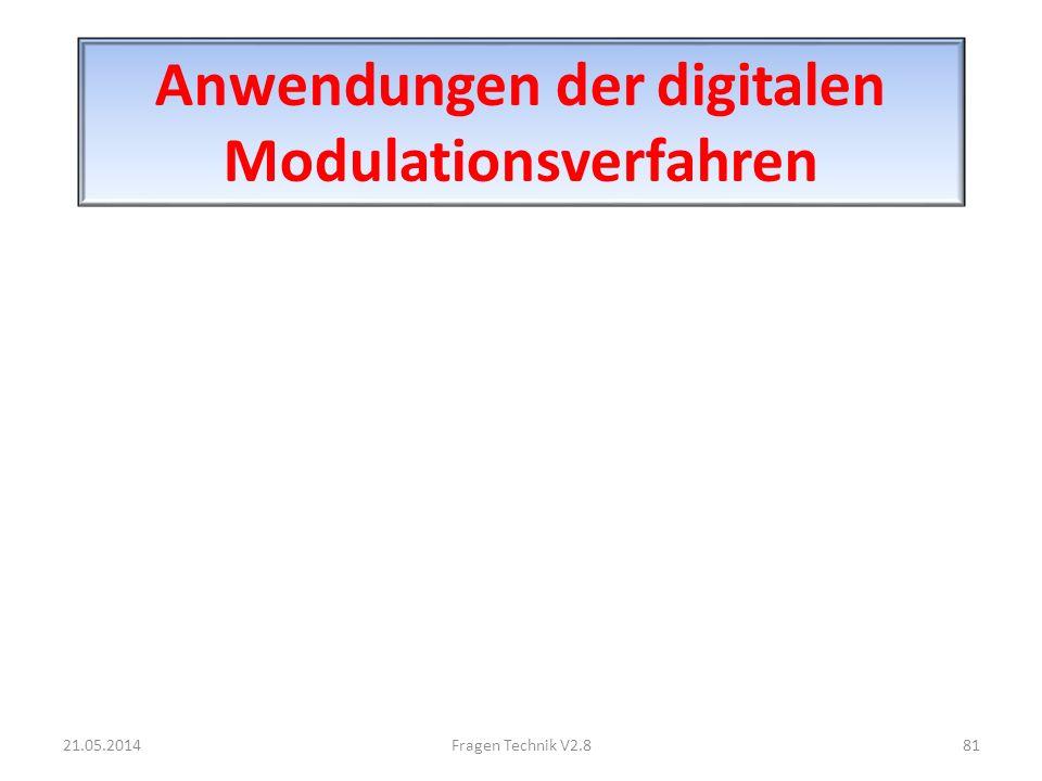 Anwendungen der digitalen Modulationsverfahren 21.05.201481Fragen Technik V2.8