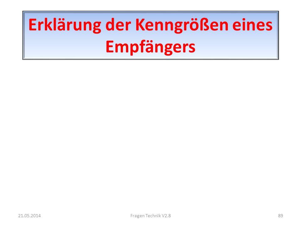 Erklärung der Kenngrößen eines Empfängers 21.05.201489Fragen Technik V2.8