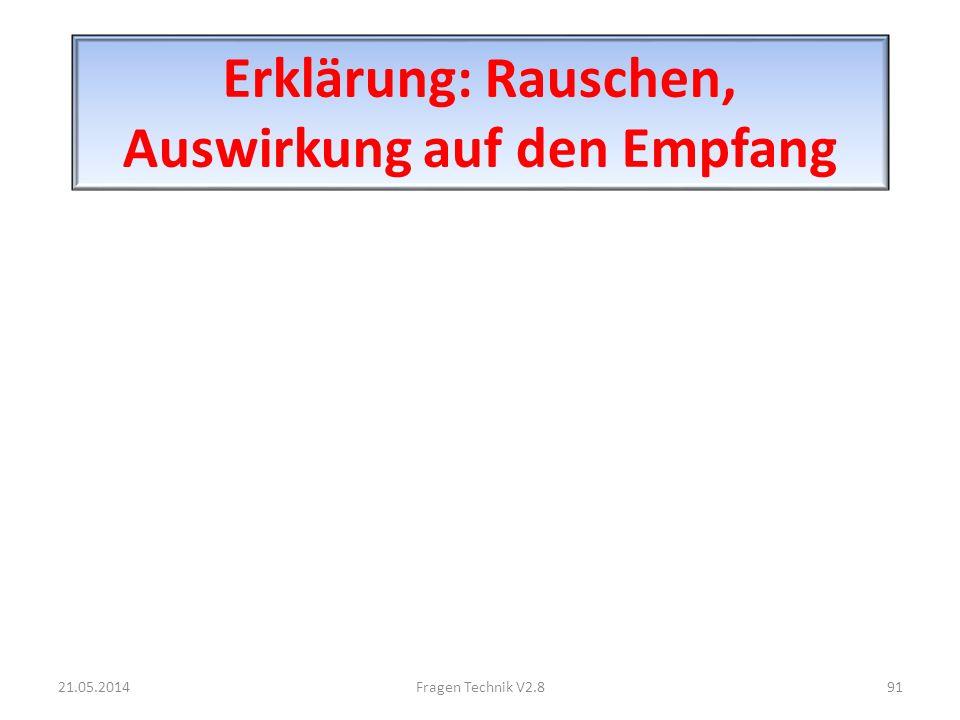 Erklärung: Rauschen, Auswirkung auf den Empfang 21.05.201491Fragen Technik V2.8