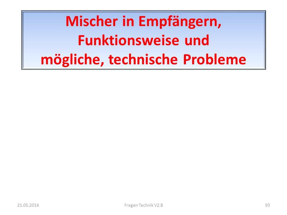 Mischer in Empfängern, Funktionsweise und mögliche, technische Probleme 21.05.201493Fragen Technik V2.8