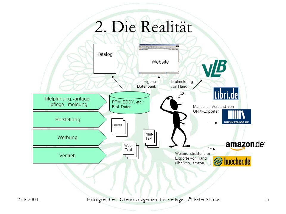 27.8.2004Erfolgreiches Datenmanagement für Verlage - © Peter Starke5 2. Die Realität Titelplanung, -anlage, -pflege, -meldung Katalog Weitere struktur