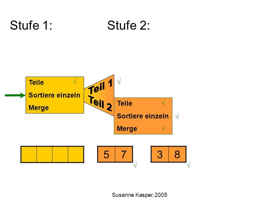 Susanne Kasper, 2005 Stufe 1: Stufe 2: Teile Sortiere einzeln Merge 5738 Teile Sortiere einzeln Merge