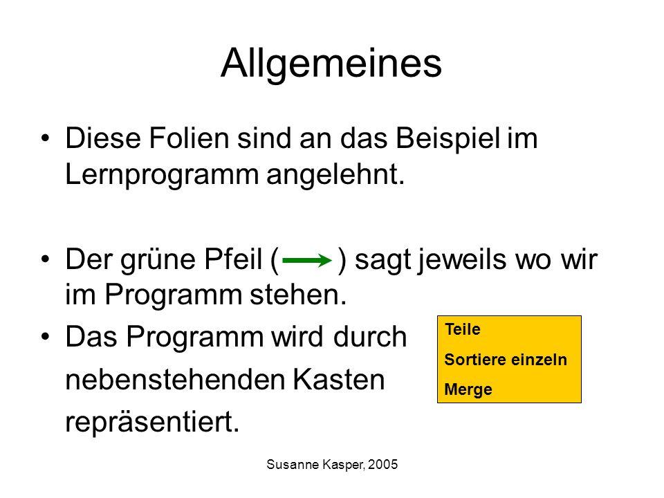 Susanne Kasper, 2005 Allgemeines Diese Folien sind an das Beispiel im Lernprogramm angelehnt. Der grüne Pfeil ( ) sagt jeweils wo wir im Programm steh