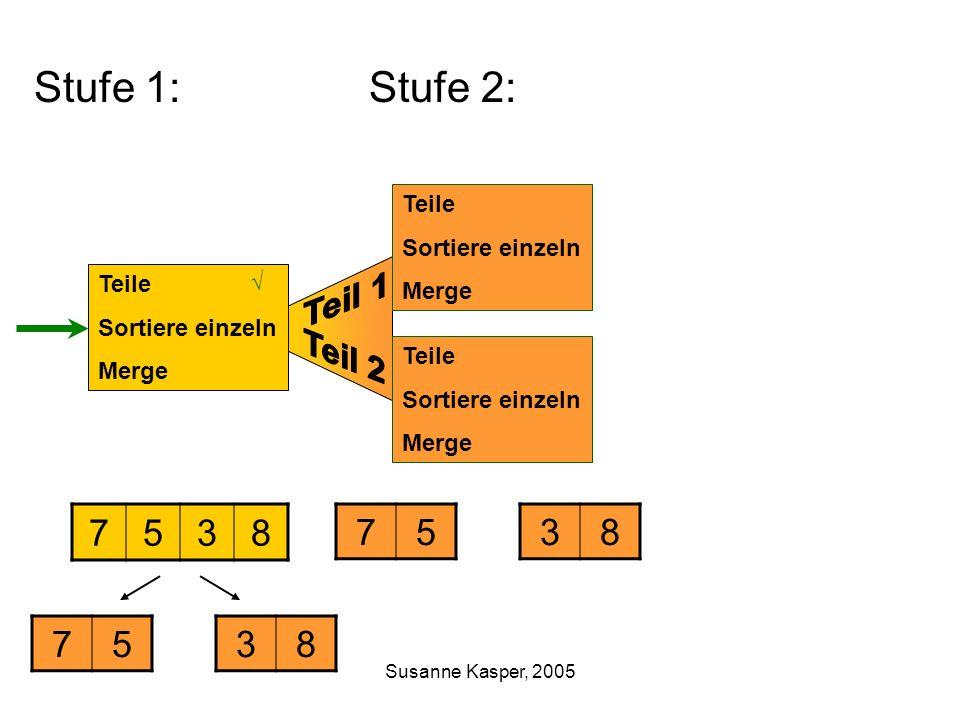 Susanne Kasper, 2005 Stufe 1: Stufe 2: Teile Sortiere einzeln Merge 7538 Teile Sortiere einzeln Merge Teile Sortiere einzeln Merge 7538 7538