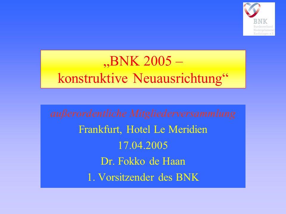 BNK 2005 – konstruktive Neuausrichtung außerordentliche Mitgliederversammlung Frankfurt, Hotel Le Meridien 17.04.2005 Dr. Fokko de Haan 1. Vorsitzende