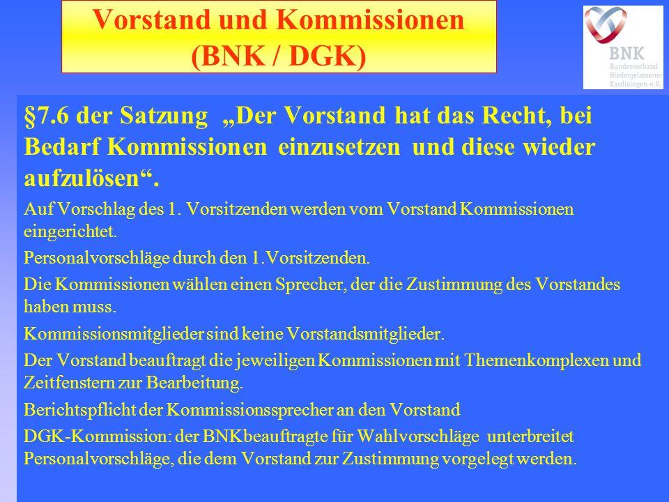 Vorstand und Kommissionen (BNK / DGK) §7.6 der Satzung Der Vorstand hat das Recht, bei Bedarf Kommissionen einzusetzen und diese wieder aufzulösen.