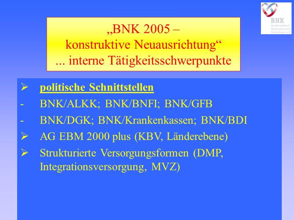 BNK 2005 – konstruktive Neuausrichtung... interne Tätigkeitsschwerpunkte politische Schnittstellen -BNK/ALKK; BNK/BNFI; BNK/GFB -BNK/DGK; BNK/Krankenk