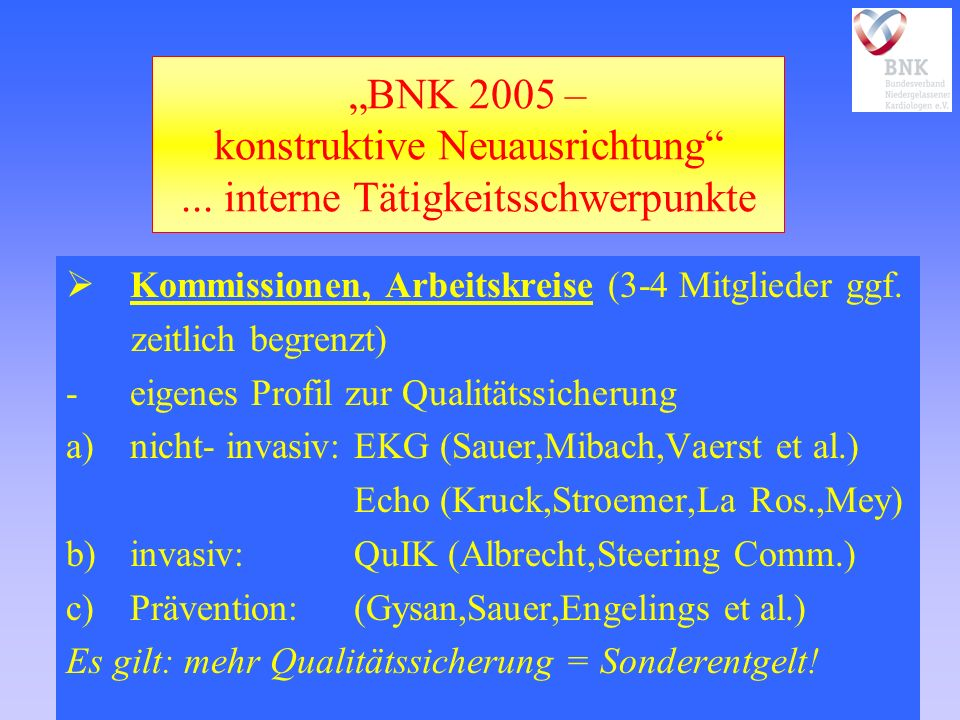 BNK 2005 – konstruktive Neuausrichtung... interne Tätigkeitsschwerpunkte Kommissionen, Arbeitskreise (3-4 Mitglieder ggf. zeitlich begrenzt) -eigenes