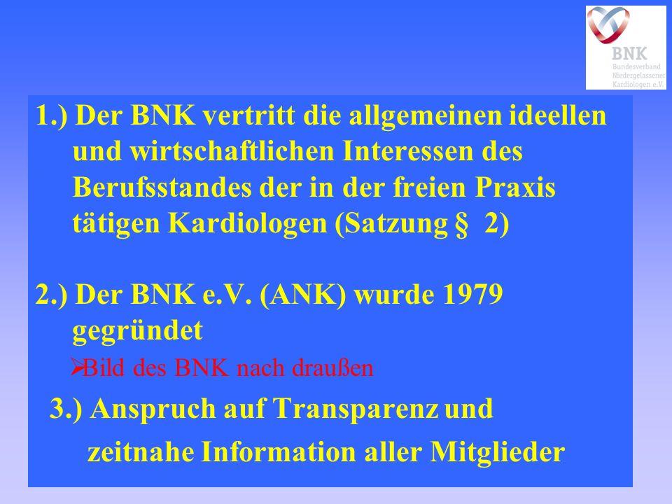1.) Der BNK vertritt die allgemeinen ideellen und wirtschaftlichen Interessen des Berufsstandes der in der freien Praxis tätigen Kardiologen (Satzung § 2) 2.) Der BNK e.V.