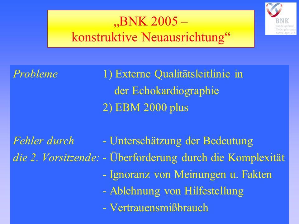 BNK 2005 – konstruktive Neuausrichtung Probleme1) Externe Qualitätsleitlinie in der Echokardiographie 2) EBM 2000 plus Fehler durch- Unterschätzung der Bedeutung die 2.