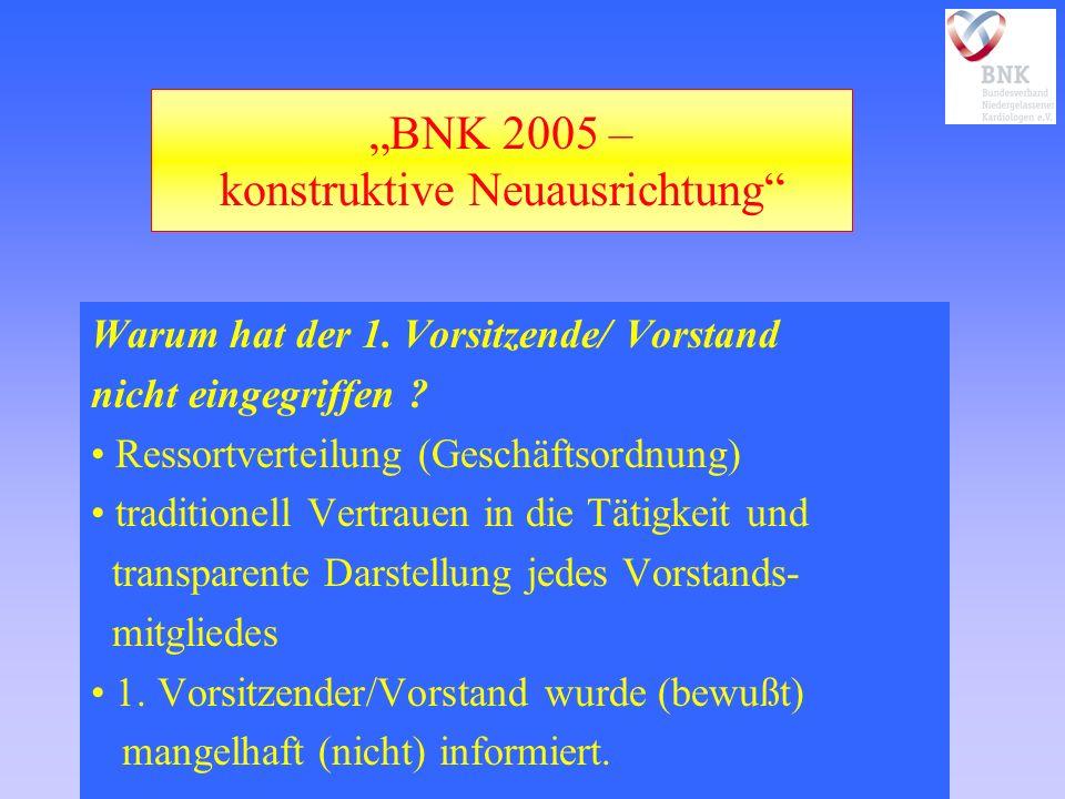 BNK 2005 – konstruktive Neuausrichtung Warum hat der 1. Vorsitzende/ Vorstand nicht eingegriffen ? Ressortverteilung (Geschäftsordnung) traditionell V