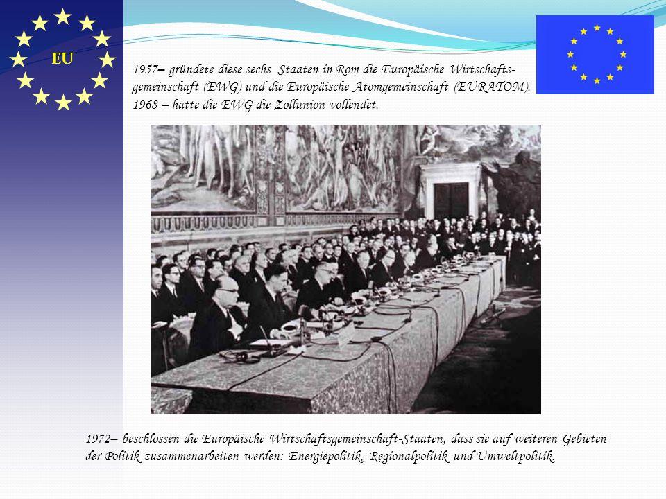 1957– gründete diese sechs Staaten in Rom die Europäische Wirtschafts- gemeinschaft (EWG) und die Europäische Atomgemeinschaft (EURATOM). 1968 – hatte