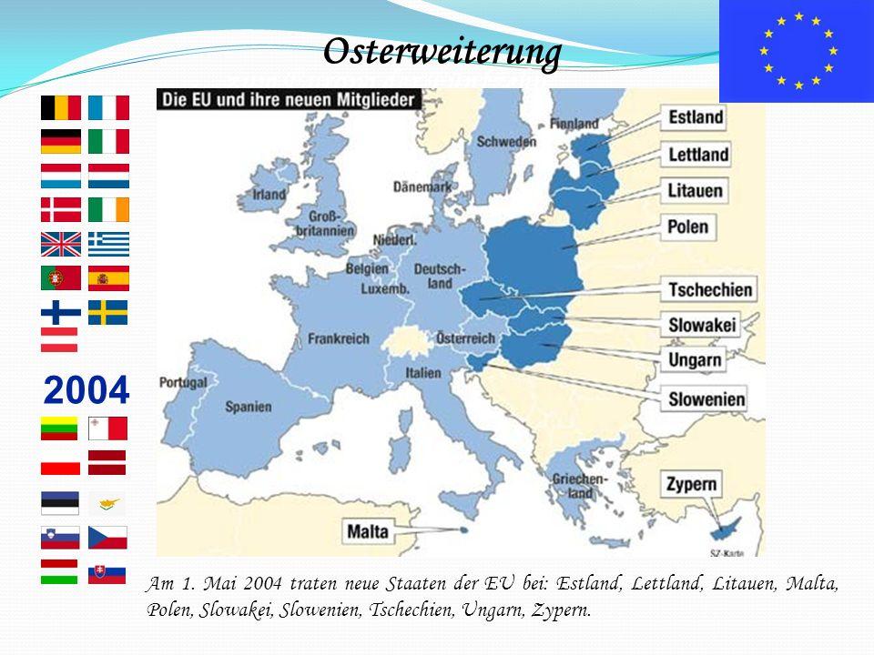 … zum Europa der Fünfzehn 2004 Am 1. Mai 2004 traten neue Staaten der EU bei: Estland, Lettland, Litauen, Malta, Polen, Slowakei, Slowenien, Tschechie