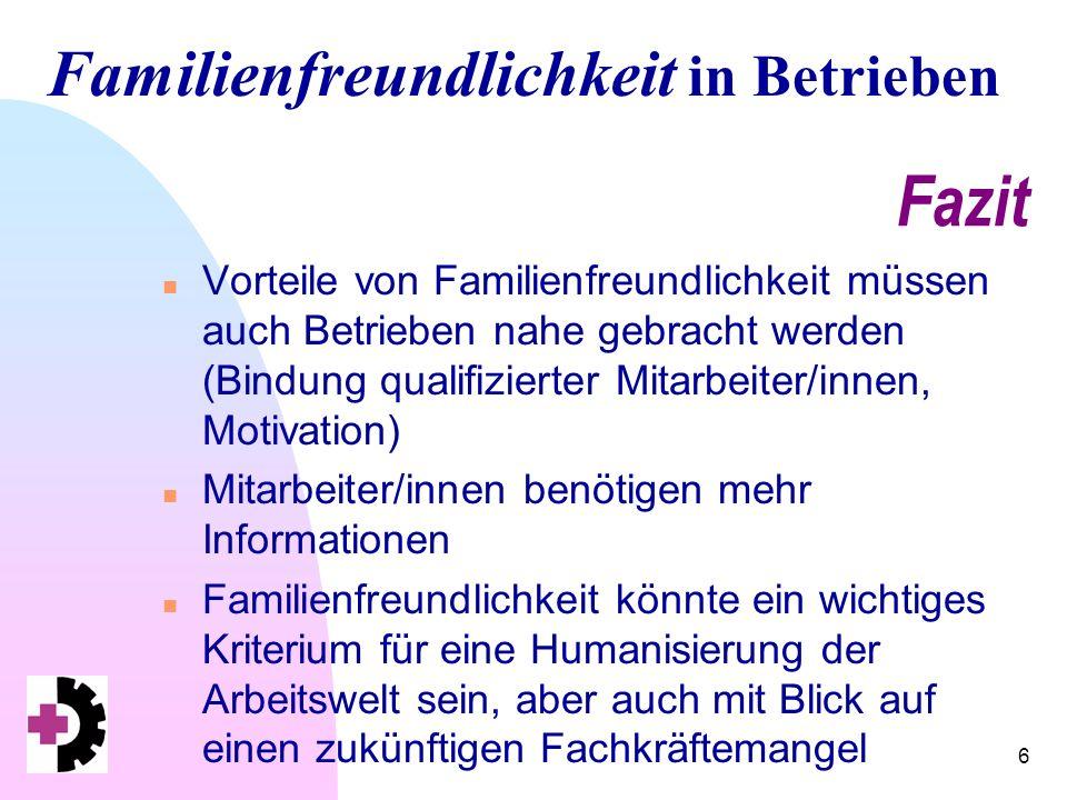 Familienfreundlichkeit in Betrieben 6 Fazit n Vorteile von Familienfreundlichkeit müssen auch Betrieben nahe gebracht werden (Bindung qualifizierter Mitarbeiter/innen, Motivation) n Mitarbeiter/innen benötigen mehr Informationen n Familienfreundlichkeit könnte ein wichtiges Kriterium für eine Humanisierung der Arbeitswelt sein, aber auch mit Blick auf einen zukünftigen Fachkräftemangel