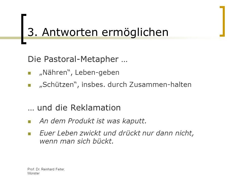 Prof. Dr. Reinhard Feiter, Münster 3. Antworten ermöglichen Die Pastoral-Metapher … Nähren, Leben-geben Schützen, insbes. durch Zusammen-halten … und