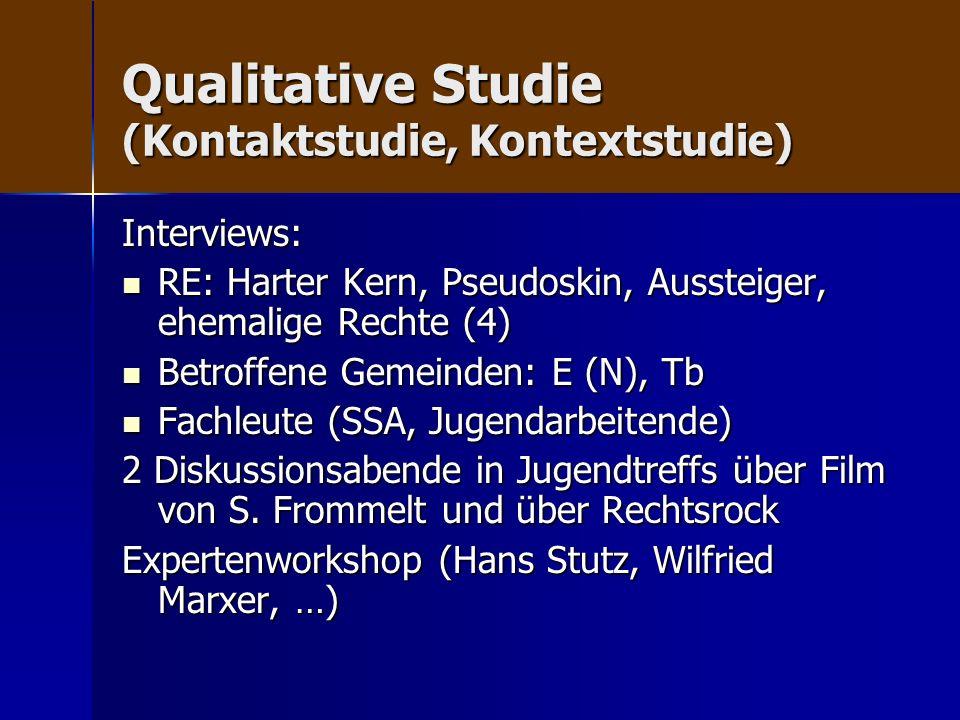 Qualitative Studie (Kontaktstudie, Kontextstudie) Interviews: RE: Harter Kern, Pseudoskin, Aussteiger, ehemalige Rechte (4) RE: Harter Kern, Pseudoski