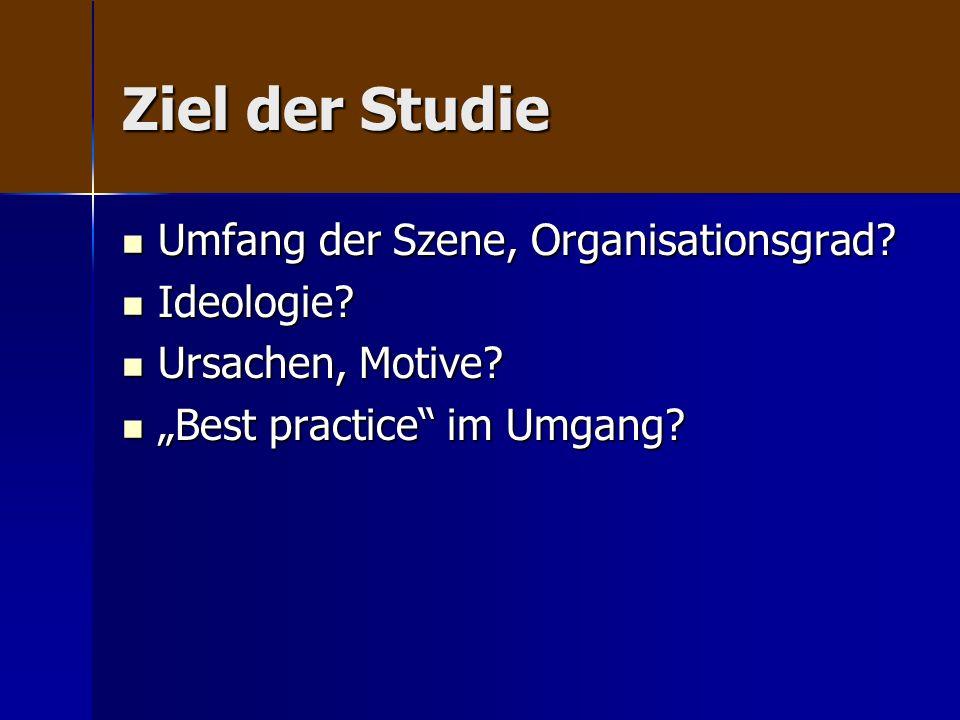Ziel der Studie Umfang der Szene, Organisationsgrad? Umfang der Szene, Organisationsgrad? Ideologie? Ideologie? Ursachen, Motive? Ursachen, Motive? Be