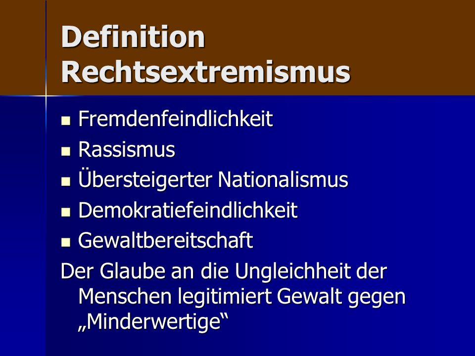 Definition Rechtsextremismus Fremdenfeindlichkeit Fremdenfeindlichkeit Rassismus Rassismus Übersteigerter Nationalismus Übersteigerter Nationalismus D