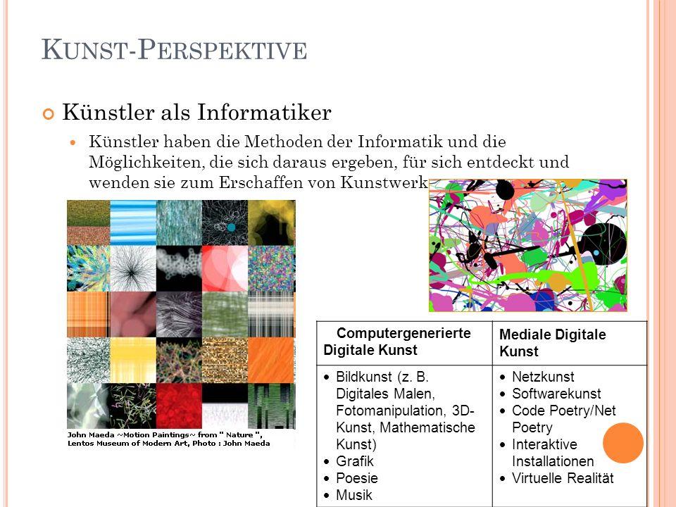 K UNST -P ERSPEKTIVE Künstler als Informatiker Künstler haben die Methoden der Informatik und die Möglichkeiten, die sich daraus ergeben, für sich ent