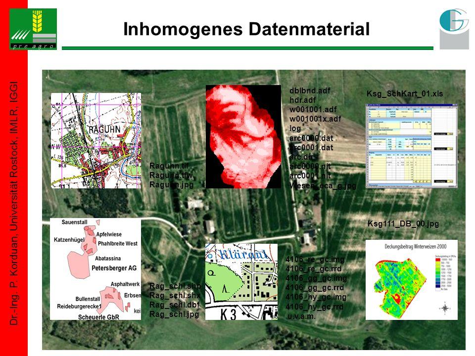 Dr.-Ing. P. Korduan, Universität Rostock, IMLR, IGGI Inhomogenes Datenmaterial Raguhn.tif Raguhn.tfw Raguhn.jpg dblbnd.adf hdr.adf w001001.adf w001001