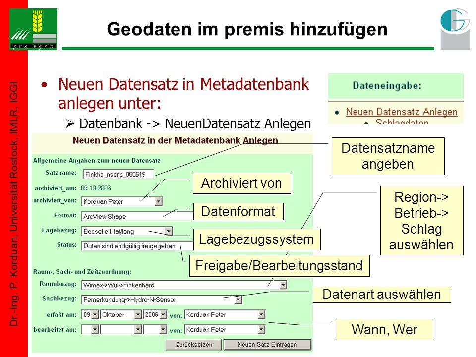 Dr.-Ing. P. Korduan, Universität Rostock, IMLR, IGGI Region-> Betrieb-> Schlag auswählen Geodaten im premis hinzufügen Neuen Datensatz in Metadatenban