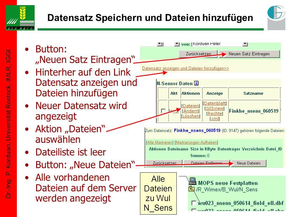 Dr.-Ing. P. Korduan, Universität Rostock, IMLR, IGGI Datensatz Speichern und Dateien hinzufügen Button: Neuen Satz Eintragen Hinterher auf den Link Da