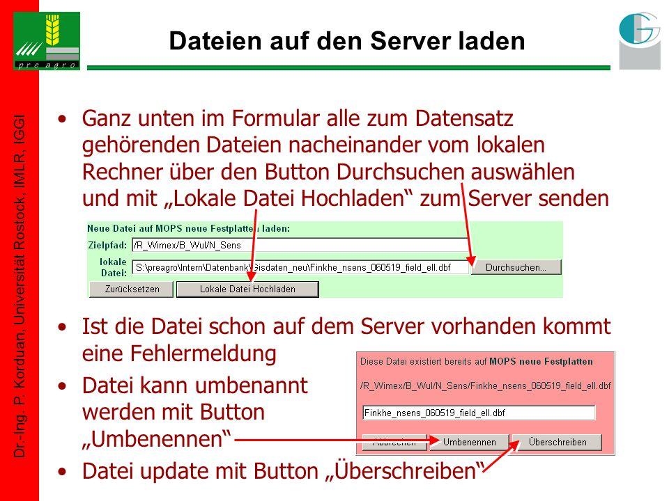Dr.-Ing. P. Korduan, Universität Rostock, IMLR, IGGI Dateien auf den Server laden Ganz unten im Formular alle zum Datensatz gehörenden Dateien nachein