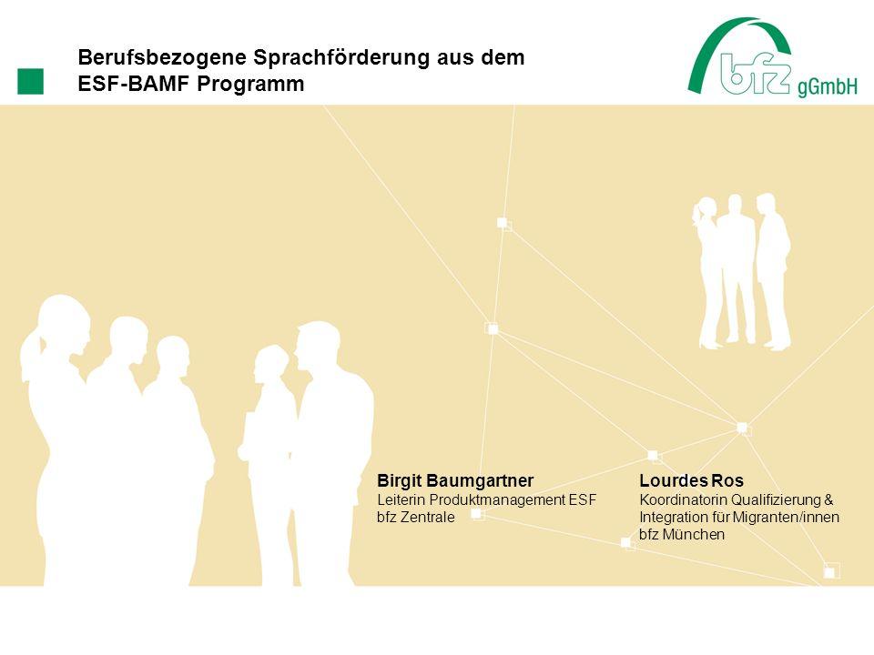 Allgemeines bfz gGmbH Gründung 1983 Unternehmen der bbw-Gruppe rund 6.000 MA 28 Standorte und 152 Außenstellen Berufsbezogene Sprachkurse in der bfz gGmbH seit März 2009 über 150 Projekte aktuell in acht Förderregionen in Bayern und in einer Förderregion in Baden-Württemberg aktiv