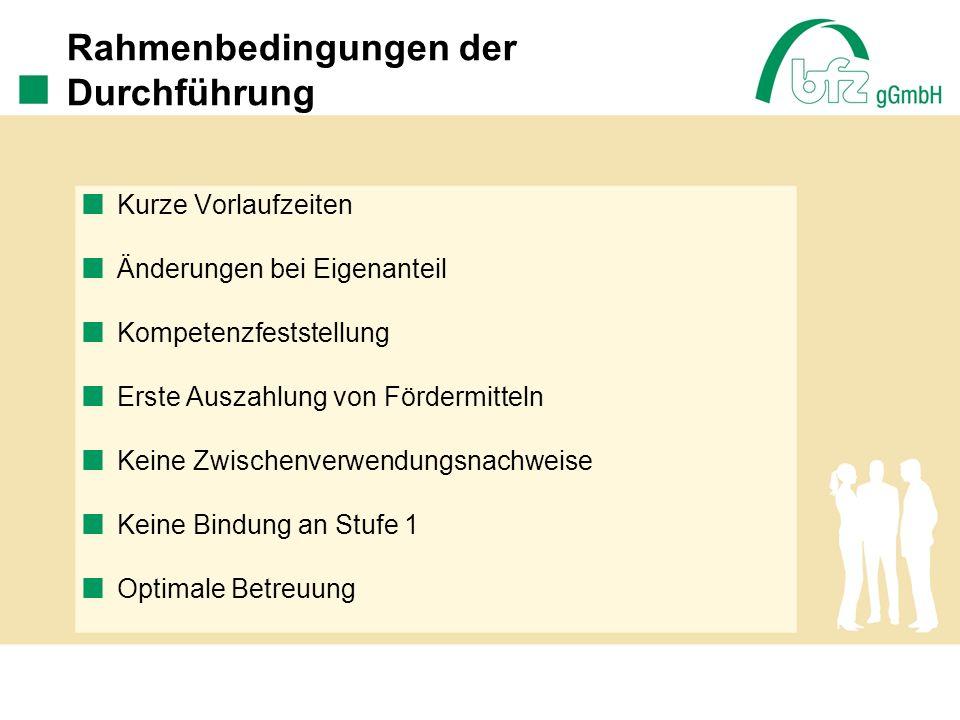 Problemfelder / Handlungsbedarf Abschließende Prüfung der Endverwendungs- nachweise Fahrtkosten Kofinanzierung Pauschalen: 300,-- EUR / 430,-- EUR Arbeitsuchende ohne Leistungsbezug Abbrecher
