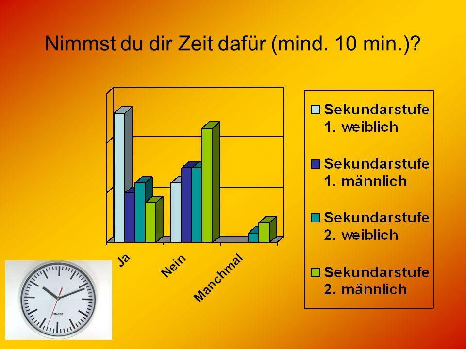 Nimmst du dir Zeit dafür (mind. 10 min.)?