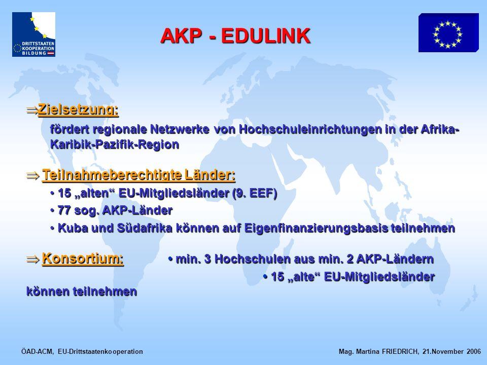ÖAD-ACM, EU-Drittstaatenkooperation Mag. Martina FRIEDRICH, 21.November 2006 Zielsetzung: Zielsetzung: fördert regionale Netzwerke von Hochschuleinric