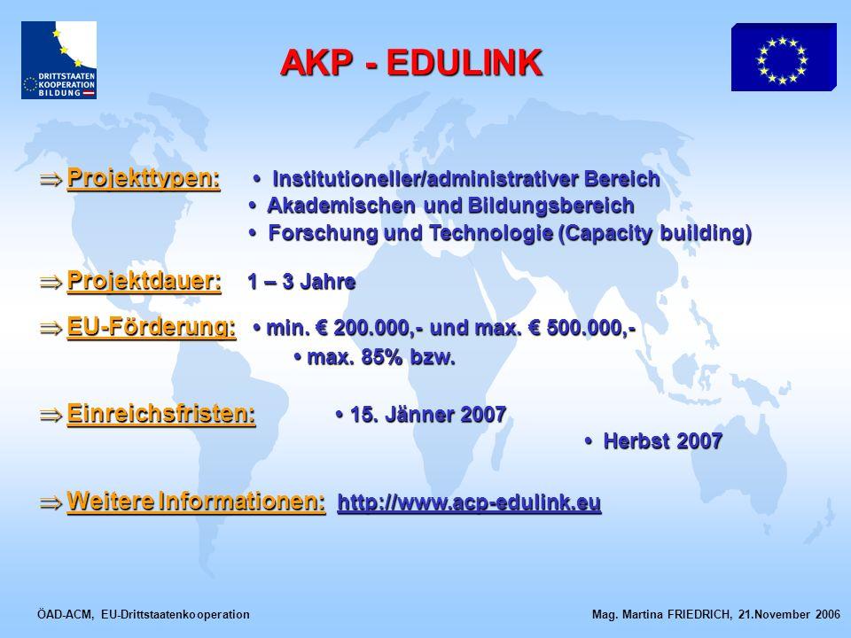ÖAD-ACM, EU-Drittstaatenkooperation Mag. Martina FRIEDRICH, 21.November 2006 Projekttypen: Institutioneller/administrativer Bereich Projekttypen: Inst