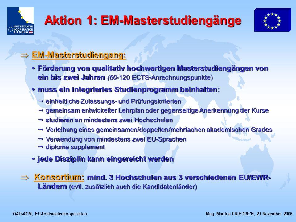 ÖAD-ACM, EU-Drittstaatenkooperation Mag. Martina FRIEDRICH, 21.November 2006 EM-Masterstudiengang: EM-Masterstudiengang: Förderung von qualitativ hoch