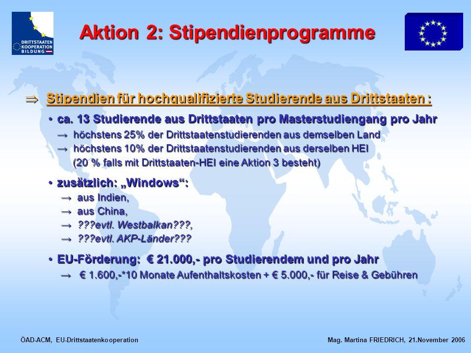 ÖAD-ACM, EU-Drittstaatenkooperation Mag. Martina FRIEDRICH, 21.November 2006 Stipendien für hochqualifizierte Studierende aus Drittstaaten : Stipendie