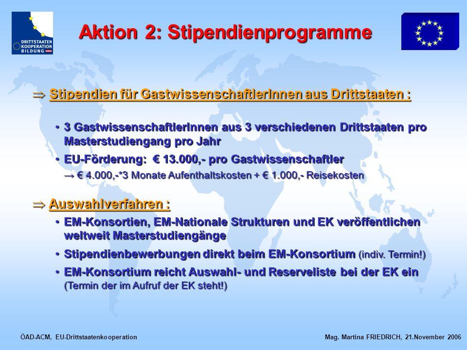ÖAD-ACM, EU-Drittstaatenkooperation Mag. Martina FRIEDRICH, 21.November 2006 Stipendien für GastwissenschaftlerInnen aus Drittstaaten : Stipendien für