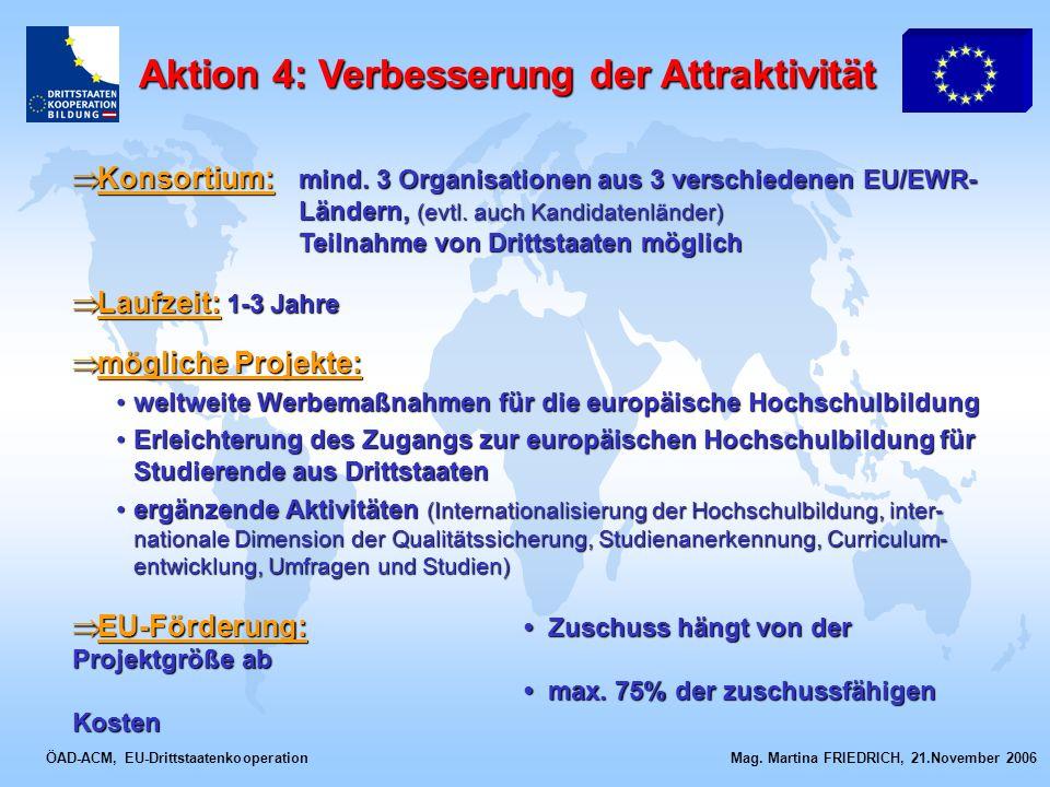 ÖAD-ACM, EU-Drittstaatenkooperation Mag. Martina FRIEDRICH, 21.November 2006 Konsortium: mind. 3 Organisationen aus 3 verschiedenen EU/EWR- Ländern, (