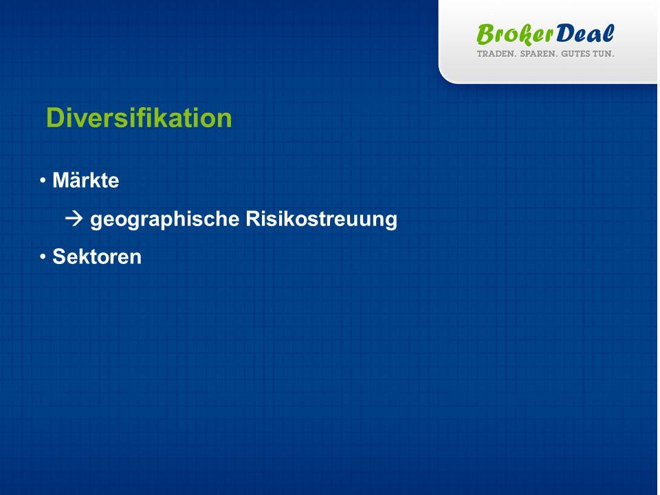 Märkte geographische Risikostreuung Sektoren Diversifikation