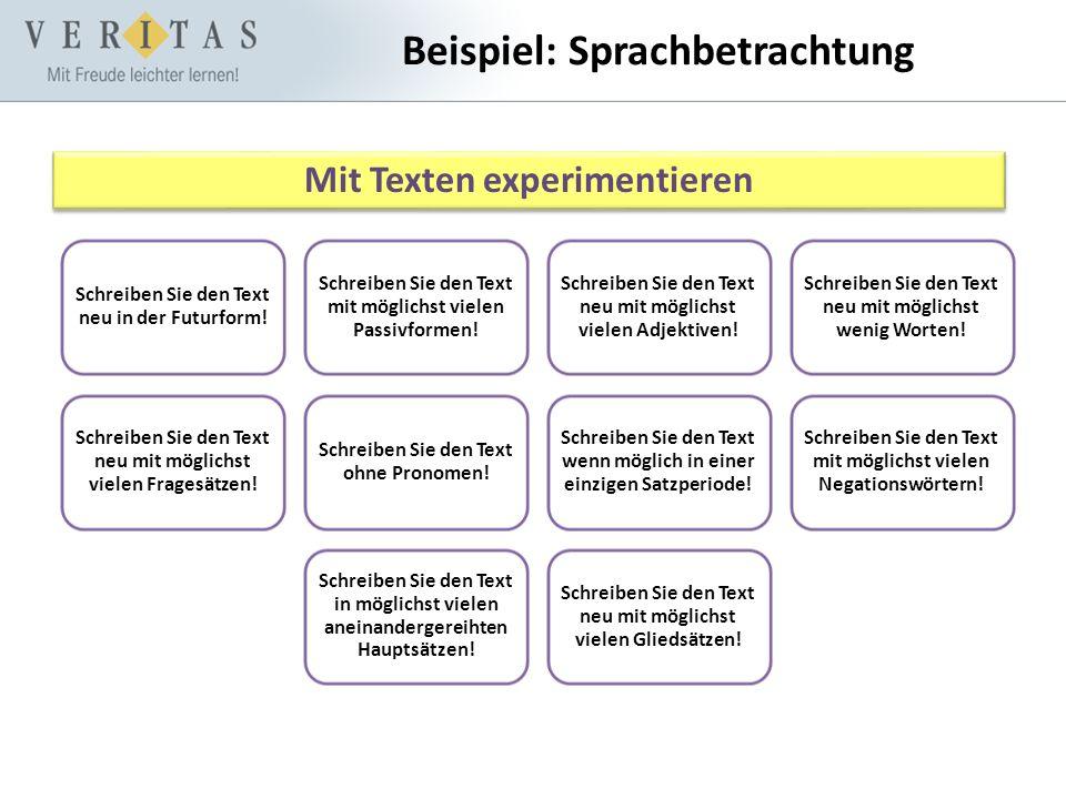 Beispiel: Sprachbetrachtung Mit Texten experimentieren Schreiben Sie den Text neu in der Futurform! Schreiben Sie den Text mit möglichst vielen Passiv