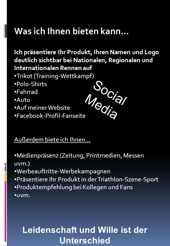 Was ich Ihnen bieten kann… Ich präsentiere Ihr Produkt, Ihren Namen und Logo deutlich sichtbar bei Nationalen, Regionalen und Internationalen Rennen a