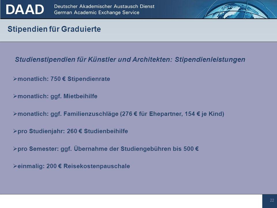 22 Stipendien für Graduierte pro Studienjahr: 260 Studienbeihilfe monatlich: 750 Stipendienrate Studienstipendien für Künstler und Architekten: Stipen