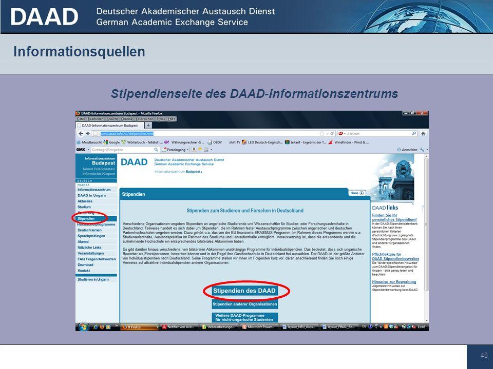 40 Informationsquellen Stipendienseite des DAAD-Informationszentrums