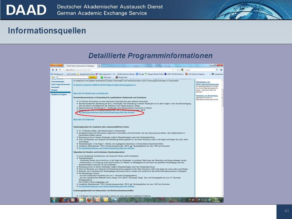 41 Informationsquellen Detaillierte Programminformationen
