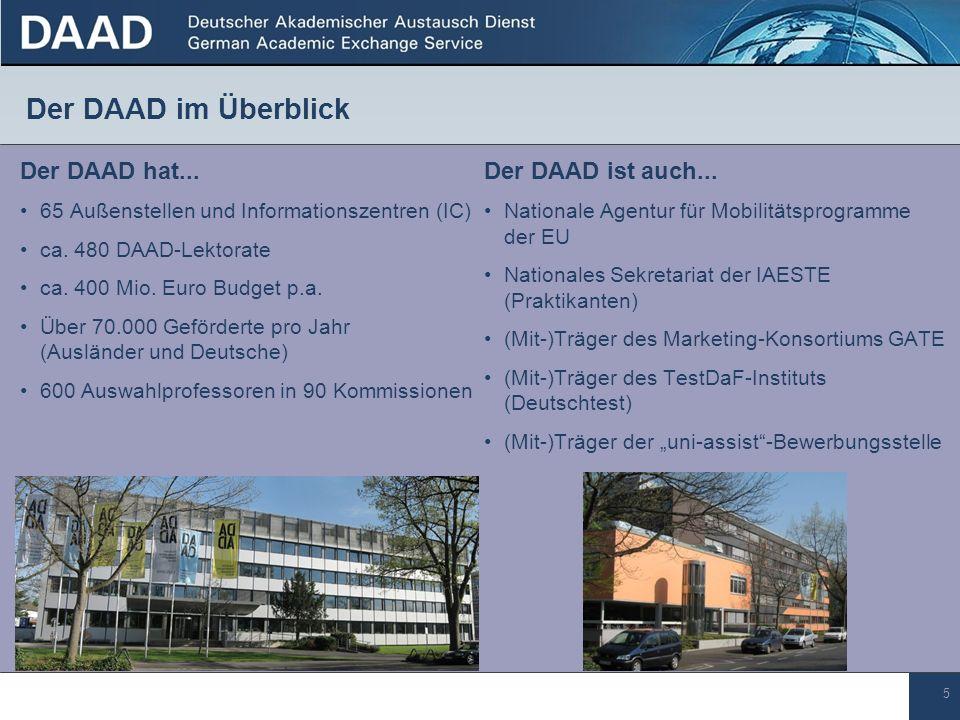5 Der DAAD hat... 65 Außenstellen und Informationszentren (IC) ca. 480 DAAD-Lektorate ca. 400 Mio. Euro Budget p.a. Über 70.000 Geförderte pro Jahr (A
