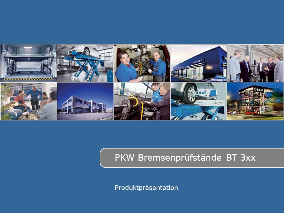 Made in Germany 2 Bremsenprüfstände für: PKW Leicht-LKW (Transporter) Anhänger (Wohnwagen) Die verschiebenen Typen: BT 300 (3 to; 2x2,5 kW; 5 kN) BT 310 (4 to; 2x3,5 kW; 6 kN) BT 320 (4 to; 2x4 kW; 8 kN) Die verschiebenen Varianten: Prüfbreite 800 bis 2200 mm Rollensatz geteilt bzw.