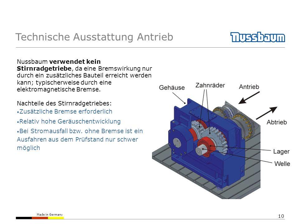 Made in Germany 10 Technische Ausstattung Antrieb Nussbaum verwendet kein Stirnradgetriebe, da eine Bremswirkung nur durch ein zusätzliches Bauteil er