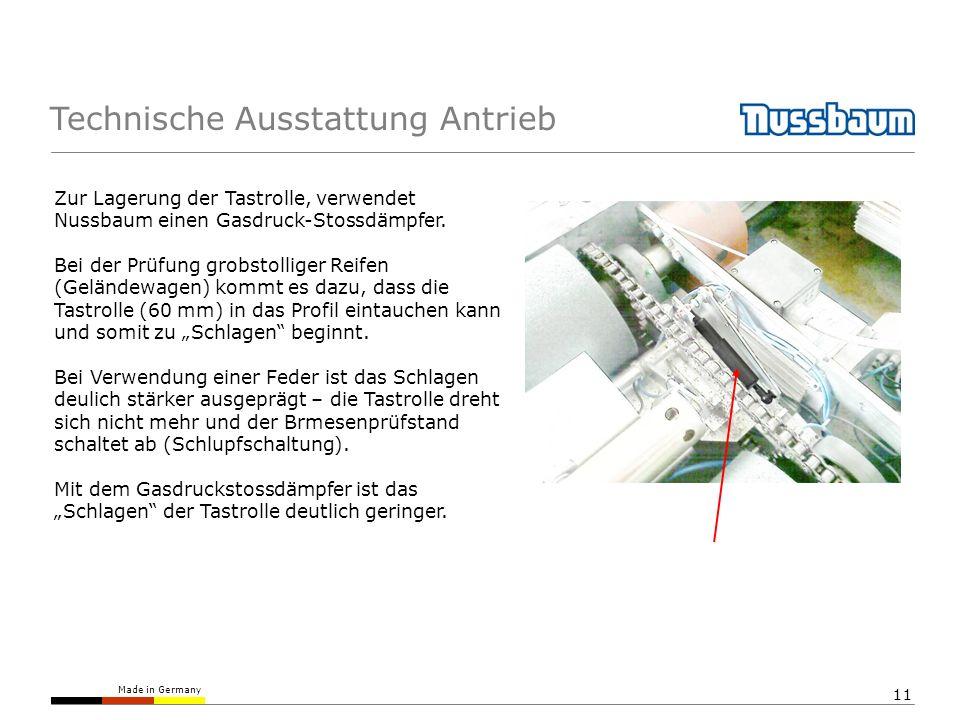 Made in Germany 11 Technische Ausstattung Antrieb Zur Lagerung der Tastrolle, verwendet Nussbaum einen Gasdruck-Stossdämpfer. Bei der Prüfung grobstol