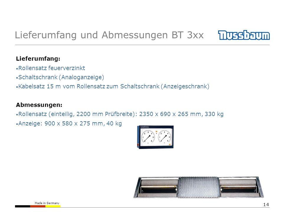 Made in Germany 14 Lieferumfang und Abmessungen BT 3xx Lieferumfang: Rollensatz feuerverzinkt Schaltschrank (Analoganzeige) Kabelsatz 15 m vom Rollens