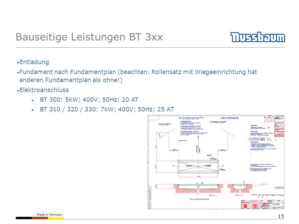 Made in Germany 15 Bauseitige Leistungen BT 3xx Entladung Fundament nach Fundamentplan (beachten: Rollensatz mit Wiegeeinrichtung hat anderen Fundamen
